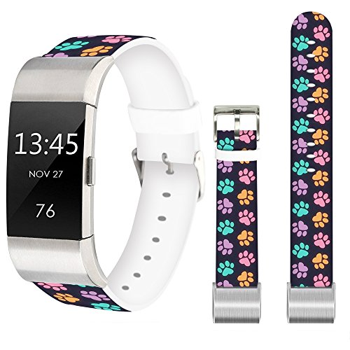 Leather Band for Fitbit Charge 2,Jolook Replacement Leather Wristband Straps Bands for Fitbit Charge 2 - Colorful Dog Claws