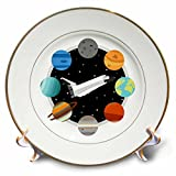 3dRose Janna Salak Designs Outer Space - Space Shuttle and Solar System - 8 inch Porcelain Plate (cp_283592_1)