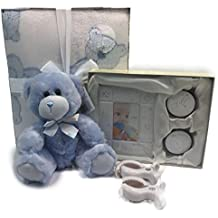 Sweet Baby Boy Gift Basket Set with Blanket, Teddy Bear, Tooth Curl Set and more