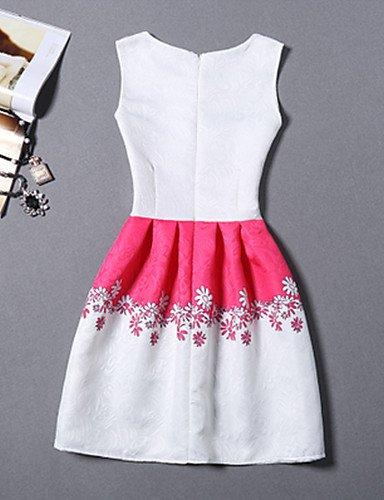 PU&PU Robe Aux femmes Gaine Vintage,Imprimé Col Arrondi Au dessus du genou Polyester , white-s , white-s