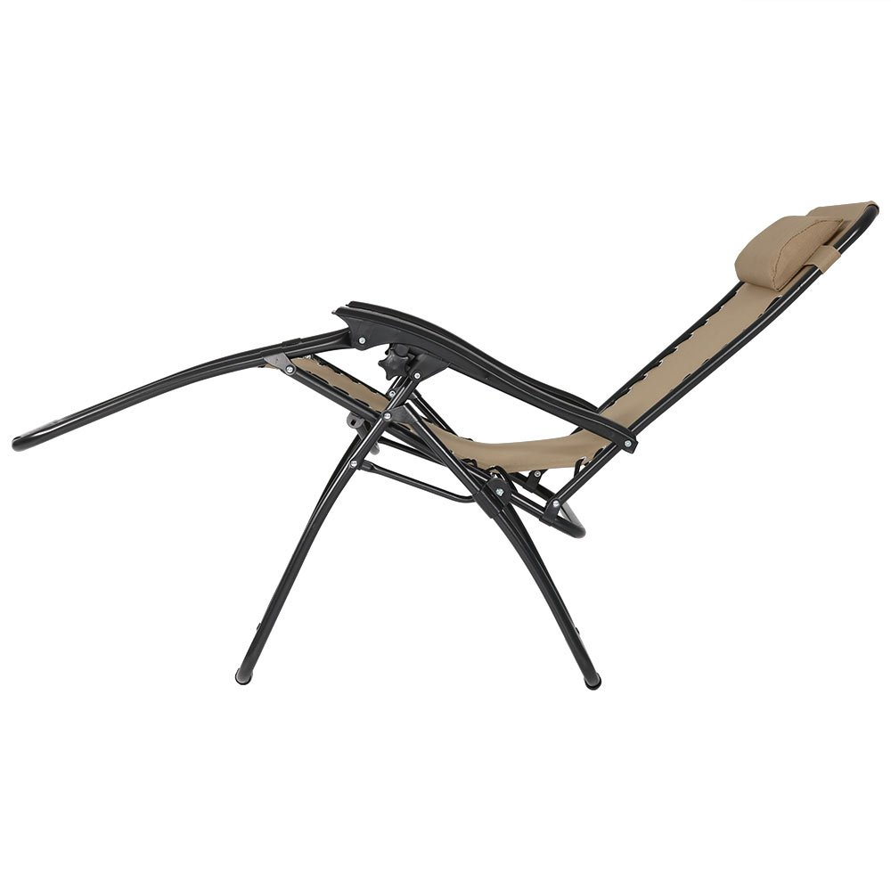 Cup Holders and Matching Table with Built-in Cup Holders with Pillows Sunnydaze Outdoor Zero Gravity Reclining Lounge Chairs Set of 2 Beige