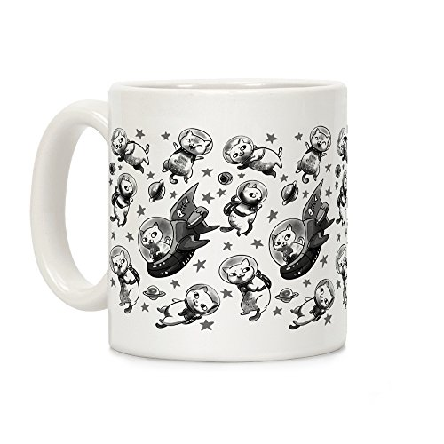 (LookHUMAN Cats In Space White 11 Ounce Ceramic Coffee Mug)