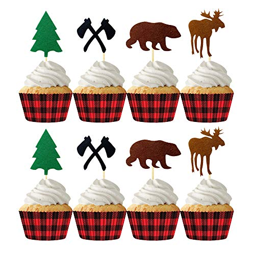24pcs Camping Cupcake Toppers Woodland Lumberjack Birthday Baby Shower Party Decorations Supplies