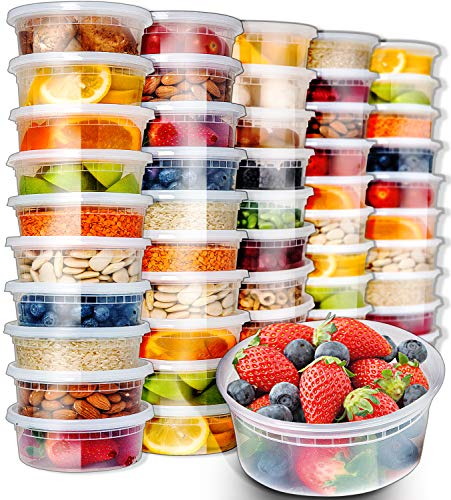 50pk 8oz Small Plastic Containers with Lids - Slime Containers with lids Freezer Containers Deli Containers with Lids - Food Containers Meal Prep Food Prep Containers Plastic Food Containers with Lids by Prep Naturals