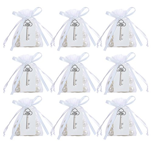 Awtlife 50 Pcs Rustic Vintage Key Bottle Opener with Card Tag and Sheer Bag for Wedding Party Favors