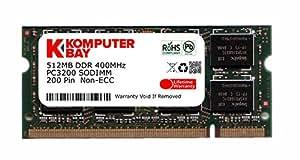 Komputerbay 512MB DDR SODIMM (200 Pin) 400Mhz DDR400 PC3200 CL 3.0 512 MB