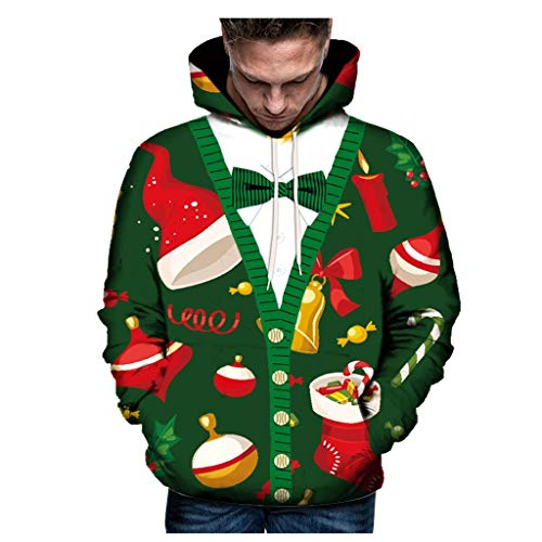 WYTong Unisex 3D Graphic Cartoon Printed Christmas Novelty Funny Pullover Hoodie Sweatshirt for Women Men(Green D,XXXXXL) (For Jumpers Sale Novelty Christmas)
