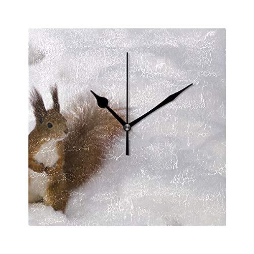 Ladninag - Reloj de Pared con alas de búho de Nieve, silencioso, Decorativo, Cuadrado, Digital, para Interiores y...