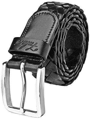 Falari Men's Braided Belt Leather Black 42-44 9005-BK-XL - Bk Leather