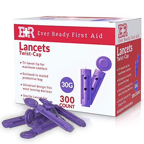 Ever Ready First Aid Sterile Twist-Cap Lancets 30G Purple – 300 Count