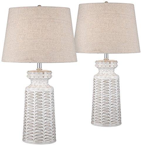 Helene White Glaze Ceramic Table Lamp Set of 2 by 360 Lighting