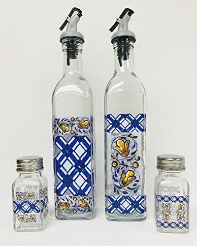 Set of 2 Or 4|Easy Pour Decal Oil & Vinegar Bottles | 17 oz each | Matching Salt & Peppers Shakers 4 oz (Set Of 4 | Blue & White Plaid Design | Oil & Vinegar Bottltes | Matching Salt & Pepper Shakers) (Salt Pepper Deruta &)