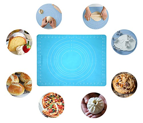 """UPC 724393522009, NEW JJMG Non-Stick Rolling Silicone Rubber Baking Mat for Cookies, Pasta, Pizza, Cakes and Pastries with Measurements (Blue 20"""" X 16"""")"""