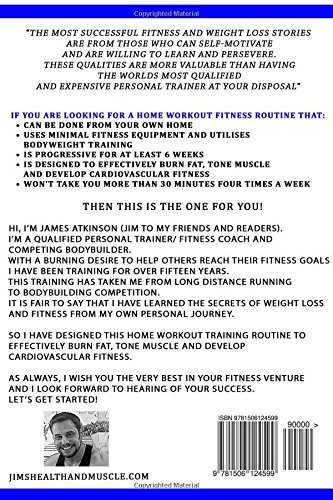 Home Workout Circuit Training 6 Week Exercise Band Bodyweight For Fat Loss Strength And Muscle Tone James Atkinson 9781506124599