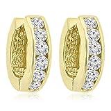 1.20 ct Ladies Round Cut Diamond Hoop Huggie Earrings In 14 kt Yellow Gold