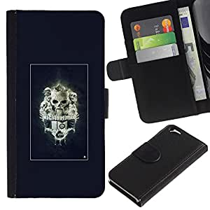 KLONGSHOP // Tirón de la caja Cartera de cuero con ranuras para tarjetas - Pesadilla Skulls - Apple Iphone 6 //