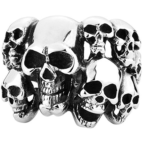 Mens Vintage Classic Gothic Embossed Skull Biker Stainless Steel Ring Band Silver Black