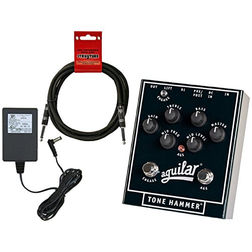Aguilar Tone Hammer 3-Band Preamp/DI Overdrive Bass Pedal w/ 18V Power Supply and Cable