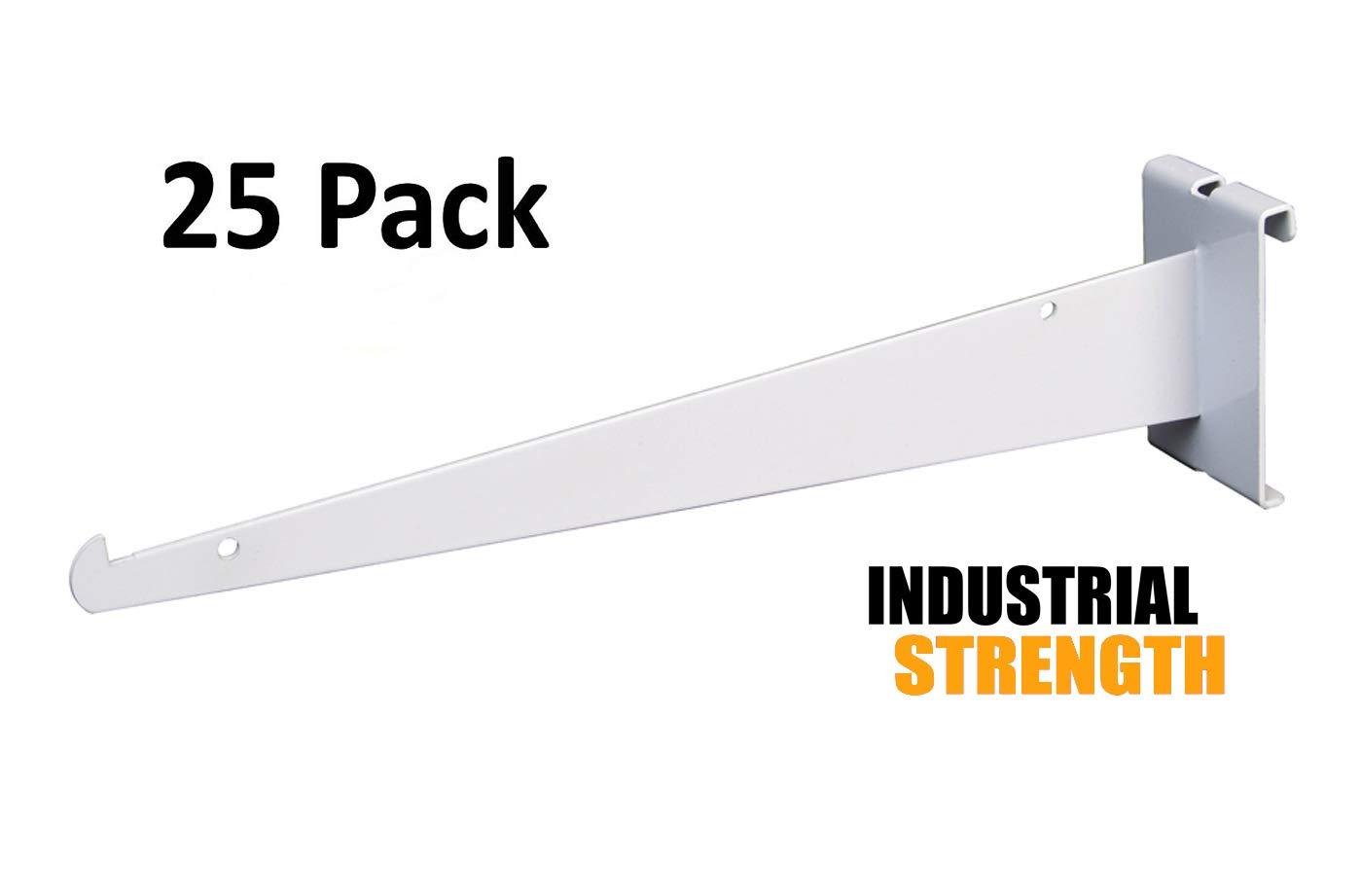 Only Hangers Shelf Brackets for Gridwall, 12'' White Grid Panel Brackets (Pack of 25) - Shelf Brackets Fit all 3'' x 3'' Standard Gridwall Panels