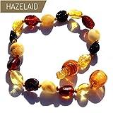 Hazelaid (TM) 5.5'' Pop-Clasp Baltic Amber Multicolored Bean Bracelet