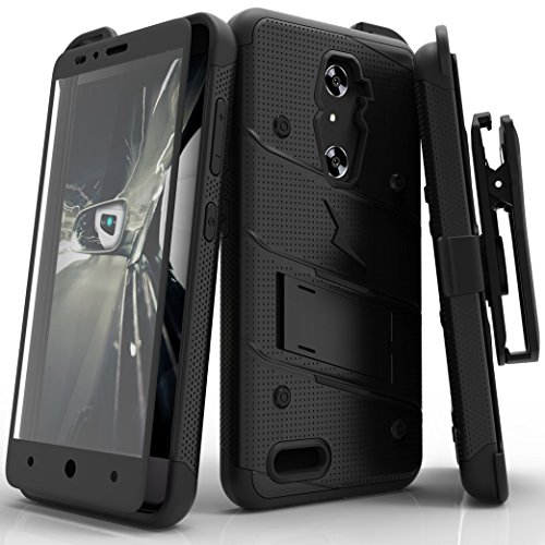 ZTE ZMax Pro Case, Zizo [Bolt Series] w/FREE [ZTE ZMax Pro Screen Protector] Kickstand [Military Grade Drop Tested] Holster Clip- ZTE Grand X Max 2