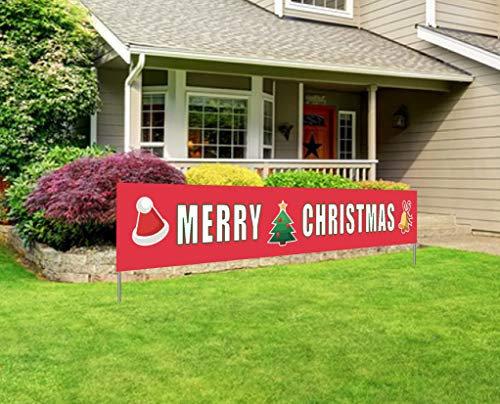 Merry Christmas Banner | Large Xmas Sign | Huge Xmas House Home Outdoor Party Decoration (Decoration For Christmas Outside)