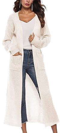 0b7e3a637c6 YOGLY Cardigan Femme Long en Maille Manches Longues Pull Gilets Lâche  Chandail en Tricot Outwear Manteau