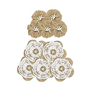 20 PCS Hand Made Burlap Rose Flowers for Craft Wedding Party Decorations 10