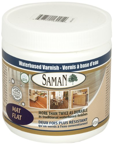 SamaN 160-005-472ml 1-Pint Interior Water Based Flat Varnish with Aluminum Oxide