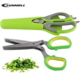 SUNMALL 7-in-1 Multi-Functional Take Apart Heavy Duty Kitchen Scissors + Premium Herb Scissors Set with 5 Stainless Steel Blades(6 Months Warranty) (2, 7 in1 shears and 5 blade shears)