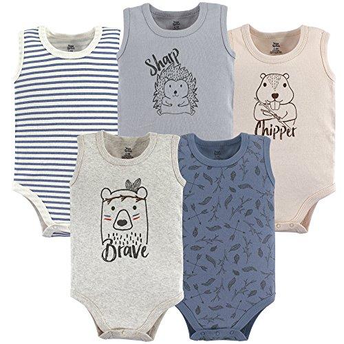 (Yoga Sprout Unisex Baby Cotton Bodysuits, Wild Woodland Sleeveless 5 Pack, 3-6 Months (6M))