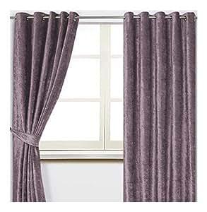 """Terciopelo Aplastado Malva Lila 45 """"X 90"""" - 114cm X 229cm con Ollados Curtains & 4 X 17"""" Cojines con Relleno"""
