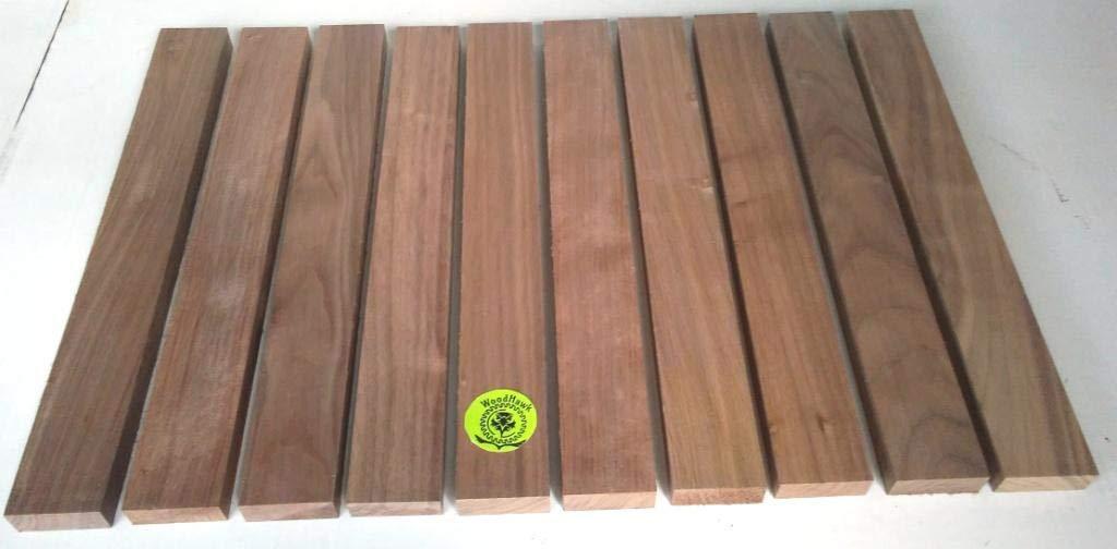 3/4'' x 2'' x 16'' Solid Black Walnut Hardwood Lumber Made by Wood-Hawk - Pack of 10 by Wood-Hawk