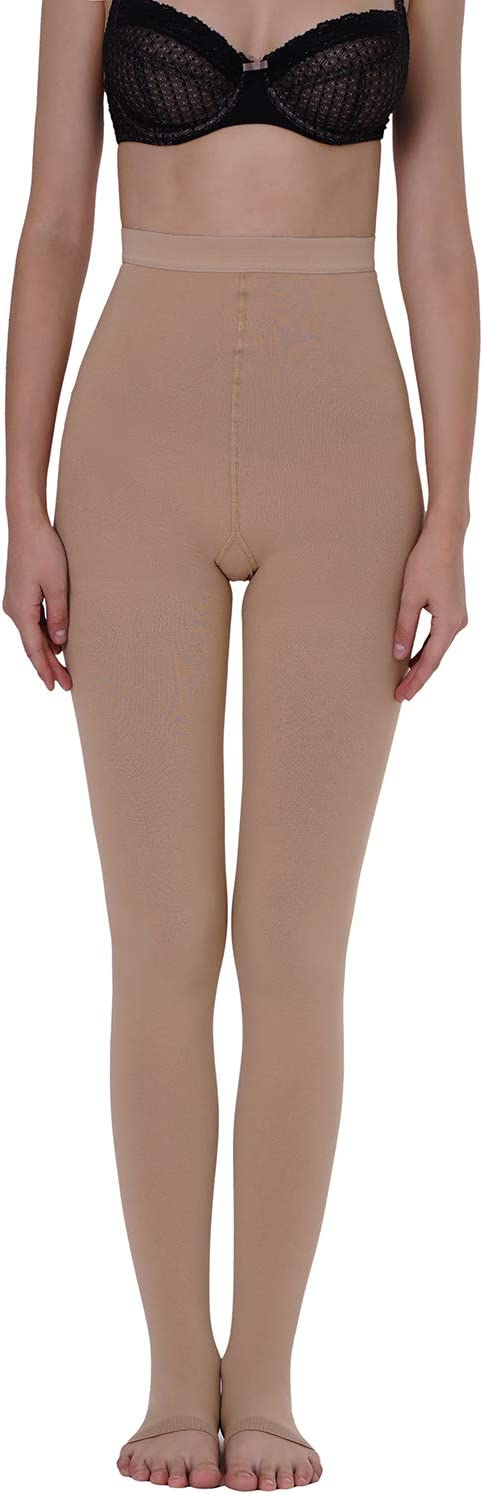 Firm Support 15-20mmHg Graduated Compression for Women AMZAM Compression Stockings Pantyhose Beige M Open Toe Opaque Professional Circulation Panty Hose to Relief Swelling Edema Varicose Veins