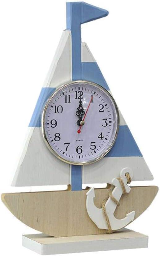 VOSAREA Reloj Decorativo de Mesa de Estilo Mediterráneo Barco de ...