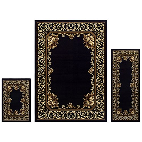 Superior Freyberg Collection 3-Piece Rug Set, Attractive Rugs with Jute Backing, Durable and Beautiful Woven Structure, Elegant Bordered Floral Area Rug Set - 2' x 3', 2' x 5', and 5' x 7' Rugs Victorian Living Room Set