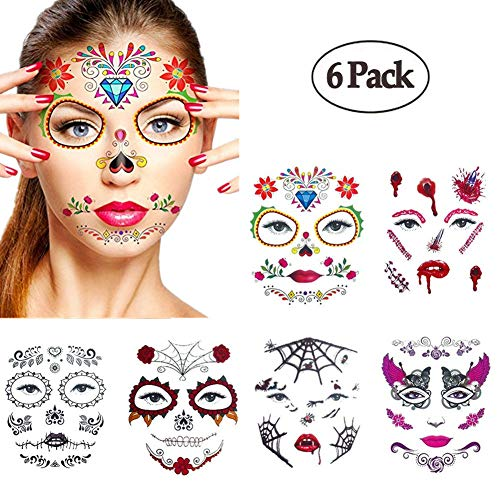 Halloween Temporary Face Tattoos,WenMei Skull Scar Spider Blood Bat Rose Floral Fake Tattoos Sticker for Women Men Kids Boys With 6 Realistic Full Face Tattoo Mask Waterproof -