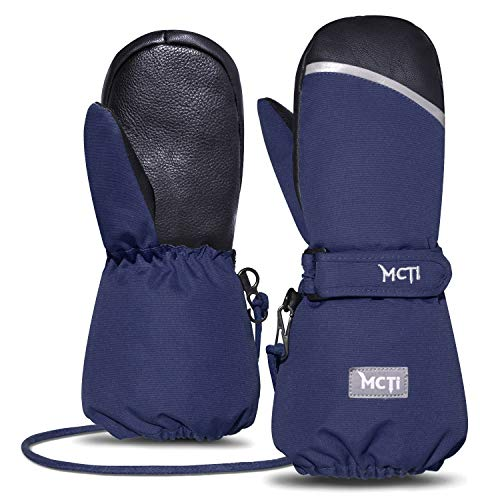 Cuff Snow - MCTi Kids Mittens Waterproof Winter Ski Snow Warm Sherpa Lined Boys Girls Long Cuff Reflector Stray On Gloves with String Blue XS