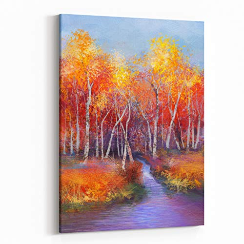 Rosenberry Rooms Canvas Wall Art Prints - Oil Painting Landscape Colorful Autumn Trees Semi Abstract Image of Forest, Trees with Yellow Red Leaf and Lake Autumn, Fall Season Nature (30 x 40 inches) ()