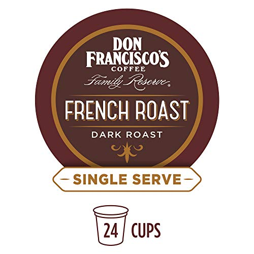 Don Francisco's French Roast (24 Pods) Dark Roast, Single Cup Coffee Pods, Compatible with Keurig K-Cup Machines