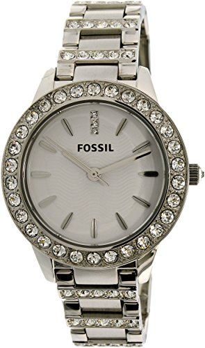 Fossil White Silver Dial (Fossil Women's ES2362 Stainless Steel Bracelet Silver Glitz Analog Dial Watch)
