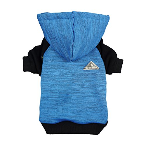 Fitwarm Pet Clothes Sweatshirts for Dog Coats Hooded Jackets, Blue, Medium