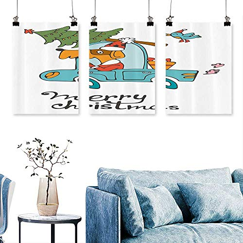 (SCOCICI1588 Three Consecutive Painting Frameless Blue Vintage Car Dog Driving with Santa Costume Cute Xmas Bird Tree and Gift Present Art Home Decor No Frame 24 INCH X 35 INCH)