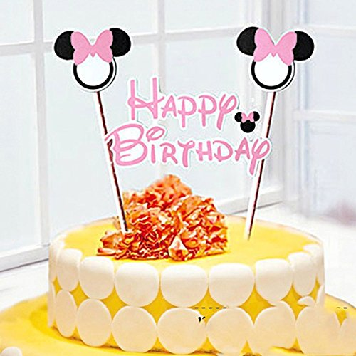 TOP Stuffsz - 1 Set Mickey,Minnie Mouse theme cupcake topper Banner,baby shower,Birthday, Party Supllies,cake baking,party decorative.... (Minnie Cake)