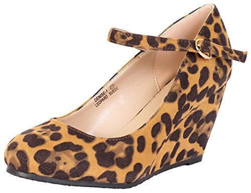 (Bella Marie Denise-1 Women's Round Toe Wedge Heel Mary Jane Squeaky Strap Suede)