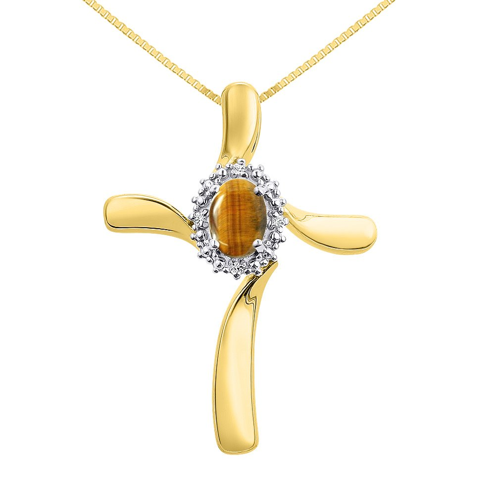 Diamond /& Tiger Eye Cross Pendant Necklace Set In Yellow Gold Plated Silver .925 with 18 Chain