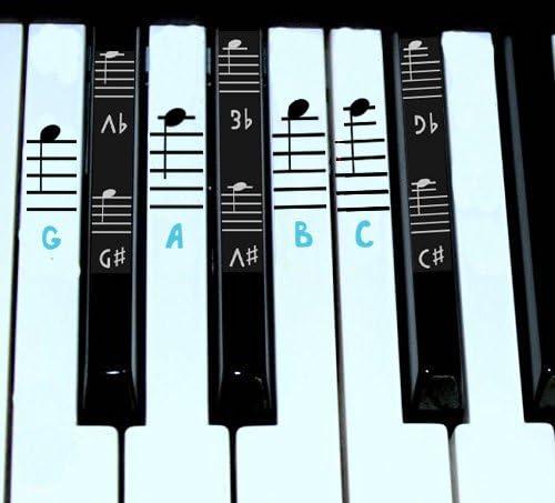 Juego completo de pegatinas para piano y teclado, notas musicales para llaves blancas y negras