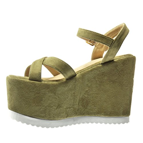 Angkorly Women's Fashion Shoes Sandals Mules - Platform - Flowers - Embroidered - Thong Wedge Platform 12.5 cm Green xLE0xvfDBR