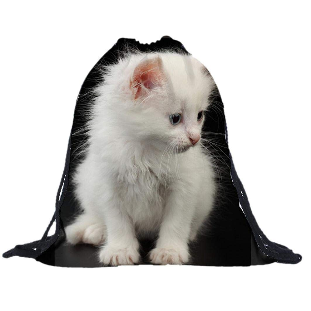 3D Printing Animal Bags Drawstring Bag,Outsta Unisex Sack Sport Gym Travel Outdoor Backpack Messenger Bags Hanging bags Beach Travel Packet (White Cat)