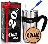 Insulated Travel Coffee Thermal Mug - 20 oz Double Wall Vacuum Drinking Stainless Steel Tumbler Cup with Spill Proof Lid, Handle and 8mm Straw - Silicone Tip - Free Bonus Coaster by Chill Cups